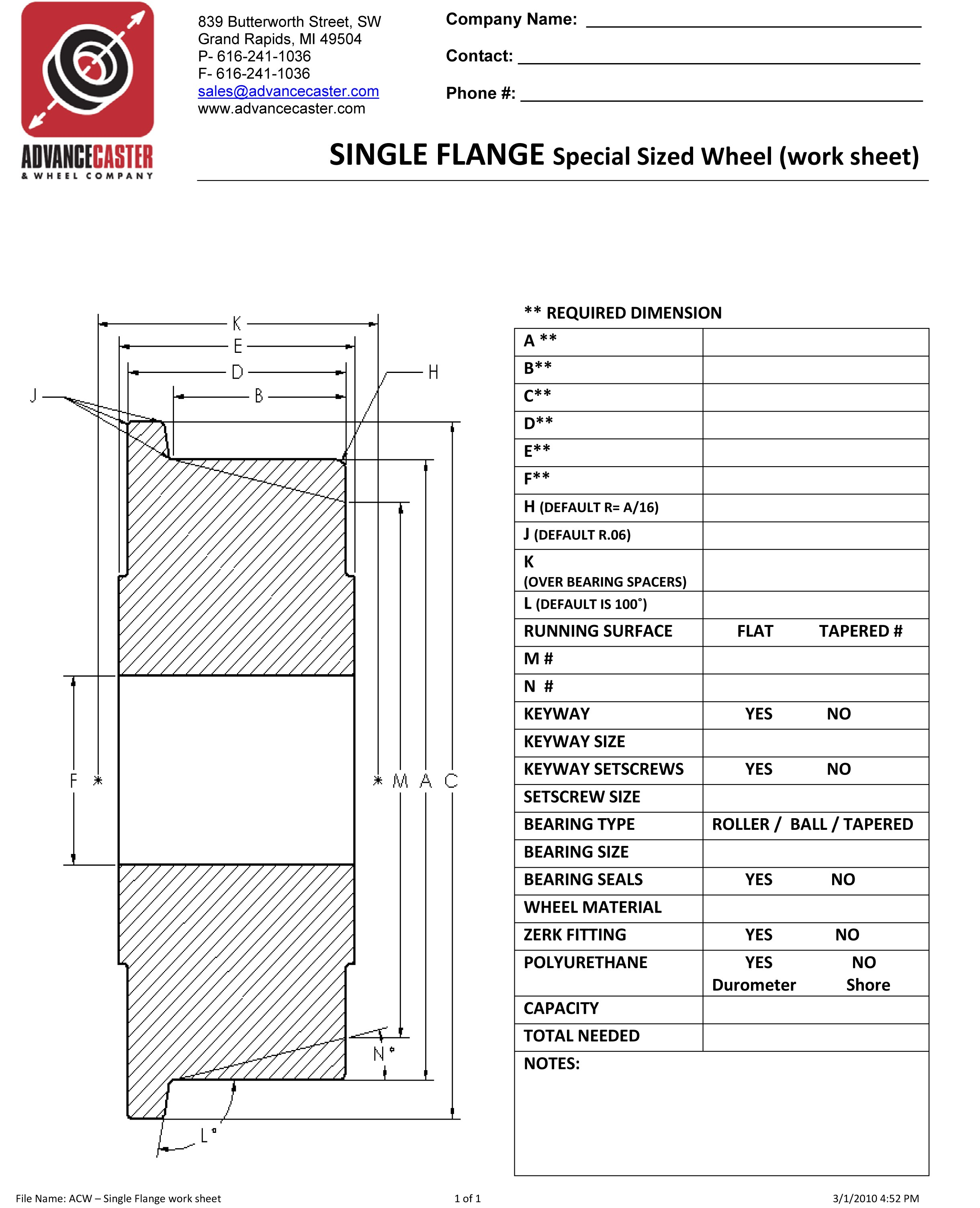 Single Flanged Wheel Worksheet