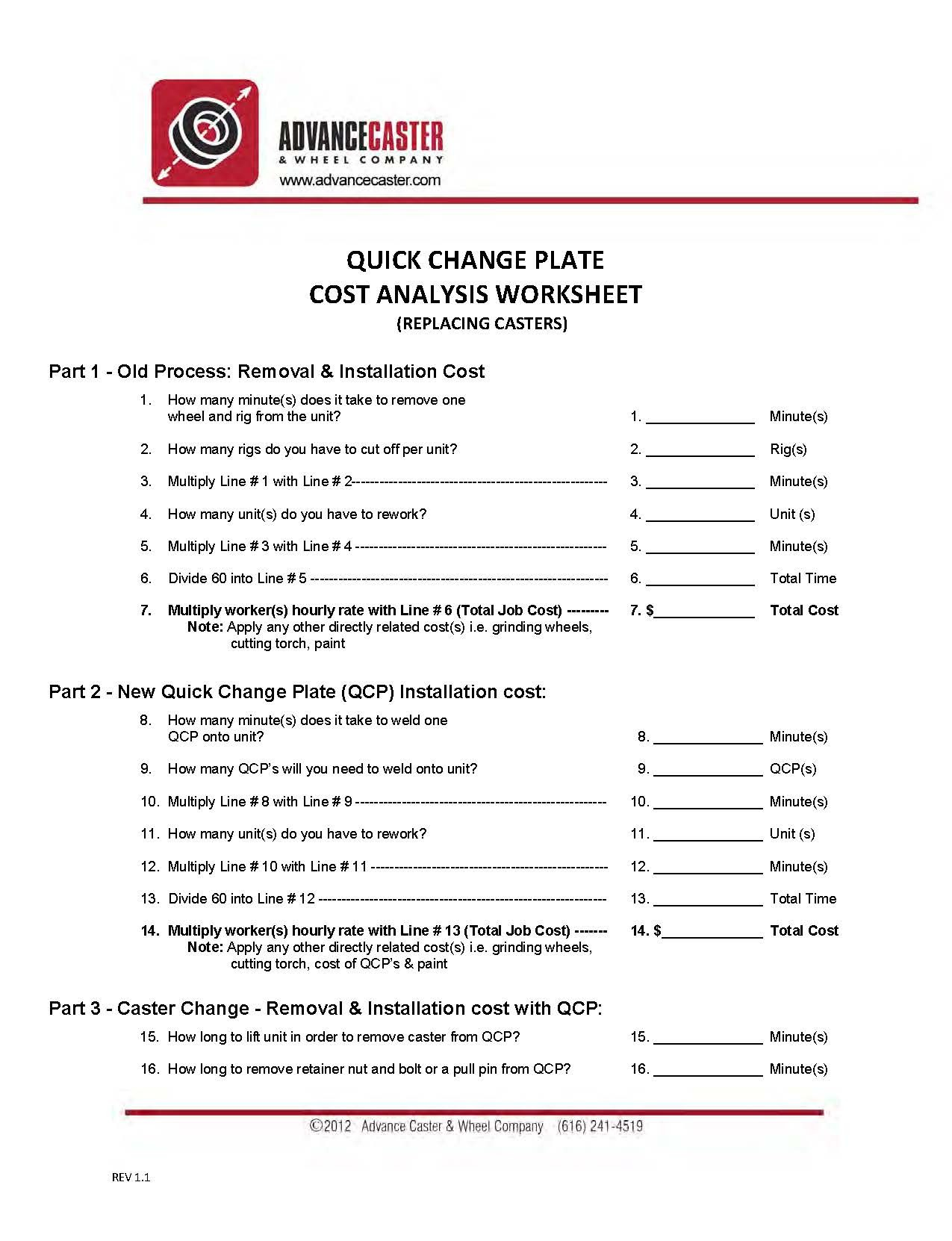 Cost Analysis Worksheet Advance Caster
